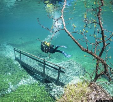 These photographs appear to show a spectacular underwater world making it ideal for scuba divers - in central Europe.  Twelve metres of water covers trees, footpaths, benches and bridges that are usually accessible throughout the year.Visitors to the Green Lake in Tragoess, Austria, that is normally only one metre deep, can leisurely stroll around the picturesque lagoon.  SEE OUR COPY FOR DETAILS.Pictured: A diver crossing a bridge in the flood water.Please byline: Marc Henauer/Solent News© Marc Henauer/Solent News & Photo AgencyUK +44 (0) 2380 458800