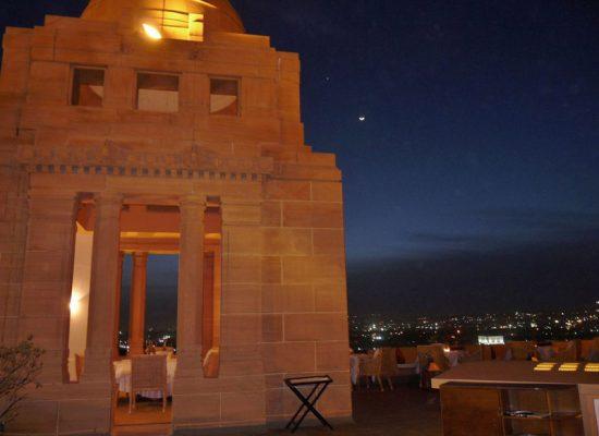 Cena en Sunset Pavilion, Umaid Palace Jodhpur