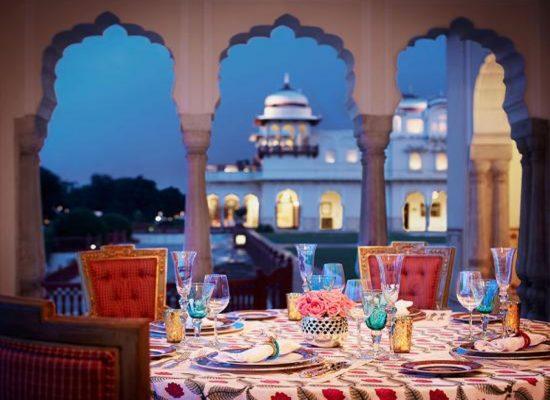 Cena en Baradari, Rambagh Palace Jaipur
